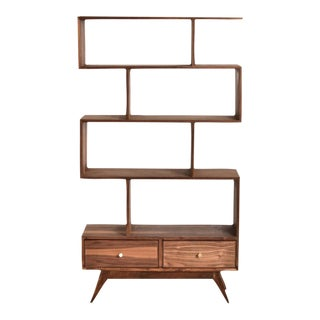 """Natural Walnut """"Isabel"""" Shelf With Bottom Drawers For Sale"""
