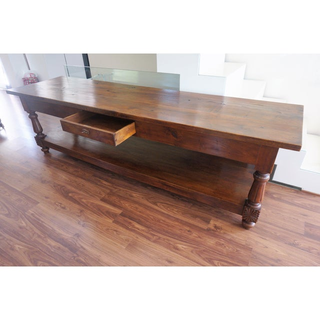 Large 19th Century Spanish Refectory Walnut Farm Table or Console For Sale - Image 4 of 11