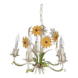 Italian Tole Sunflower Chandelier
