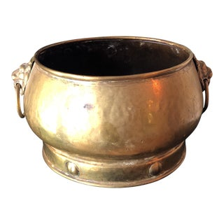 Hollywood Regency Brass Reticulated Lion Handles Vase / Catchall For Sale