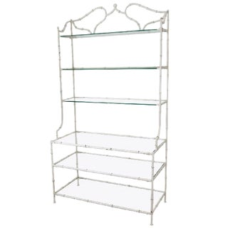 ELEGANT HOLLYWOOD REGENCY ENAMELED FAUX BAMBOO ETAGERE For Sale