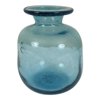 Vintage Mid-Century Blenko Aqua Glass Decanter For Sale