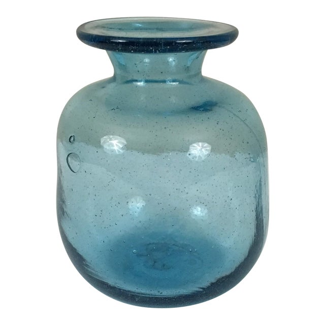 Vintage Mid-Century Blenko Aqua Glass Decanter For Sale
