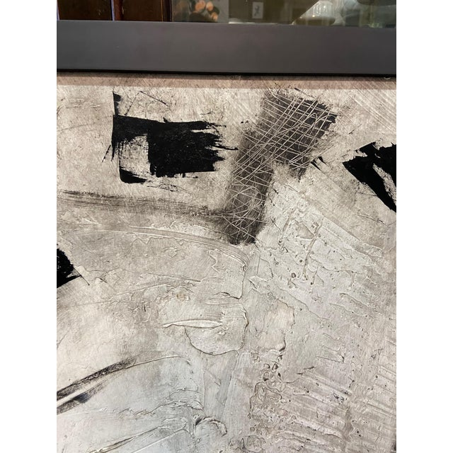 1960s Abstract Black and White Painting by Graham Harmon For Sale In Los Angeles - Image 6 of 13