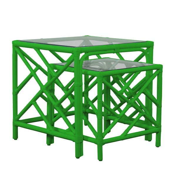 Chippendale Nesting Tables - Bright Green For Sale In West Palm - Image 6 of 6
