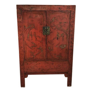 Vintage Asian Red Lacquer Wood Armoire For Sale