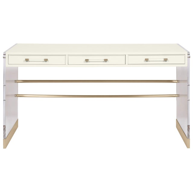 Transitional Casa Cosima Arden Desk with Taper Leg Base, Cloud White For Sale - Image 3 of 3