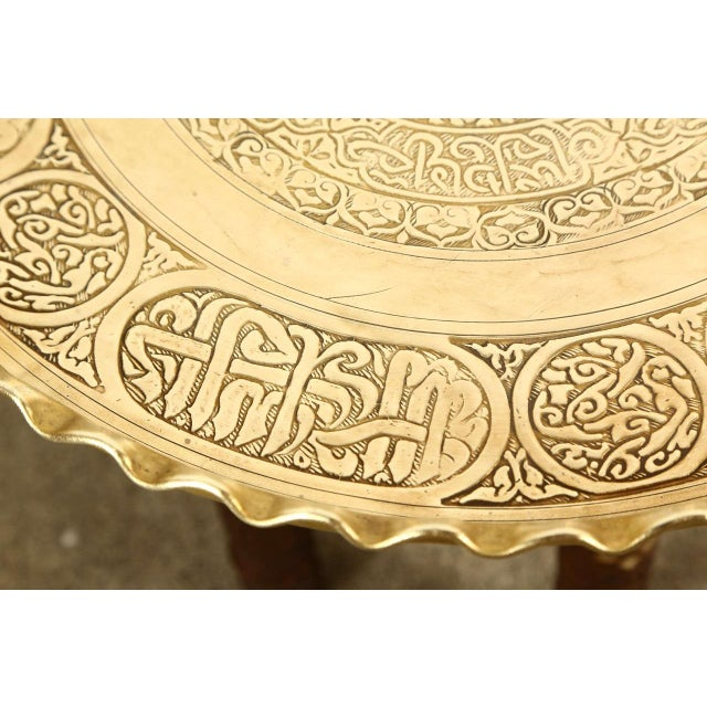 Mid 19th Century Moorish Brass Tray Side Table For Sale - Image 5 of 10