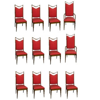 12 Custom Made Mahogany Dining Chairs For Sale