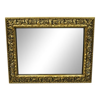 Antique French Baroque Rococo Style Pierce Carved Wood Gold Mirror For Sale