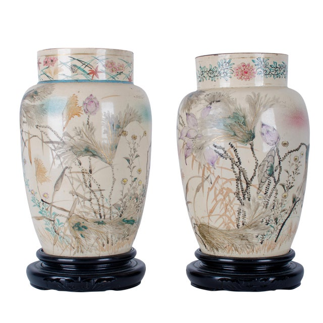 Hand Painted Japanese Vases - a Pair For Sale