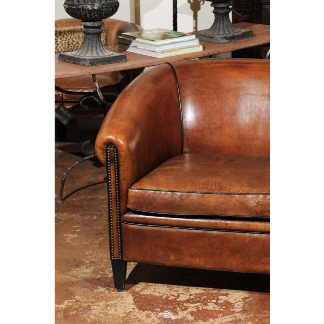 Wood French Turn of the Century Brown Leather Sofa with Nailhead Trim, circa 1900 For Sale - Image 7 of 12