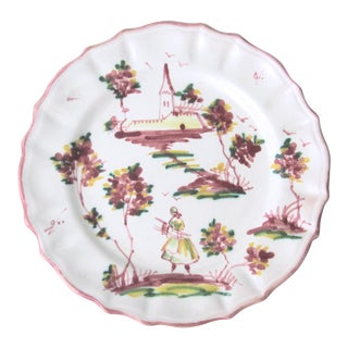 Vintage Hand Painted Italian Decorative Plate For Sale