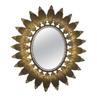 Oval Spanish Gilt Metal Sunburst Mirror For Sale