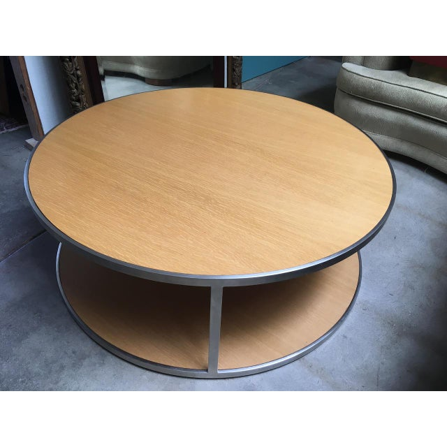 """Wonderful Modern Round Cocktail table. Gorgeous brushed stainless steel frame (1"""" wide bank by 3/8"""" thick) holds two-tier..."""