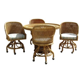 Boho Chic Rattan and Bamboo Dining Table and Four Chairs - 5 Pieces For Sale