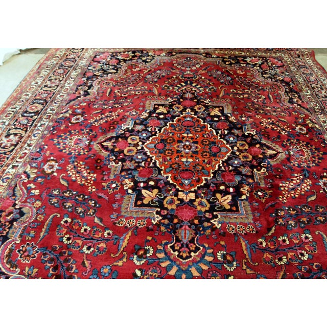 1910s handmade antique Persian Mashad rug 10.2' x 13.9' For Sale - Image 5 of 11