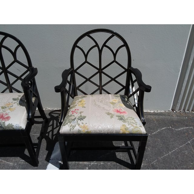 Lattice Work Back Black Arm Chairs - a Pair For Sale In San Antonio - Image 6 of 11