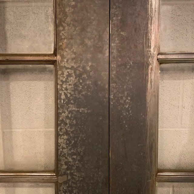 Industrial Tall Brushed Steel and Glass Doors For Sale - Image 9 of 12