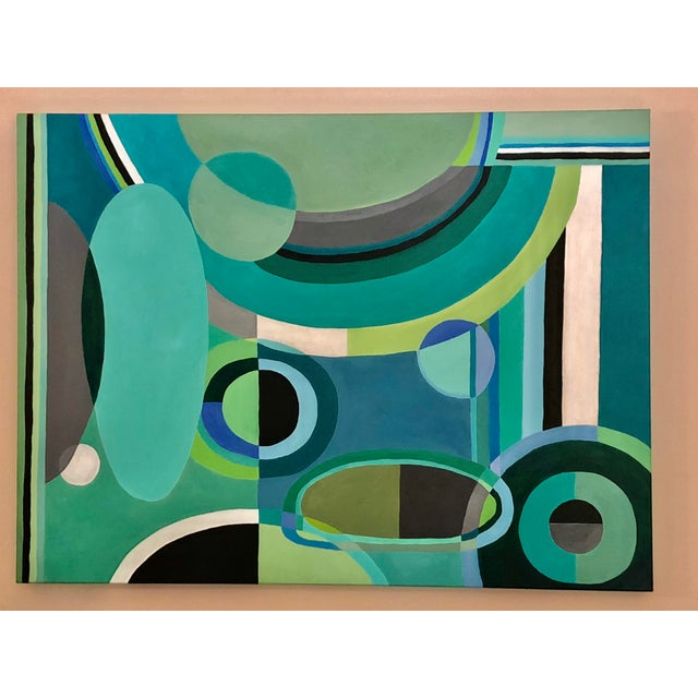 Canvas Large Rectangular Abstract Painting in Blues and Greens For Sale - Image 7 of 7