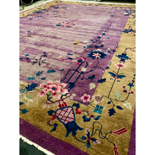 Chinese Art Deco Room Size Rug - 10′2″ × 13′5″ For Sale In Indianapolis - Image 6 of 7