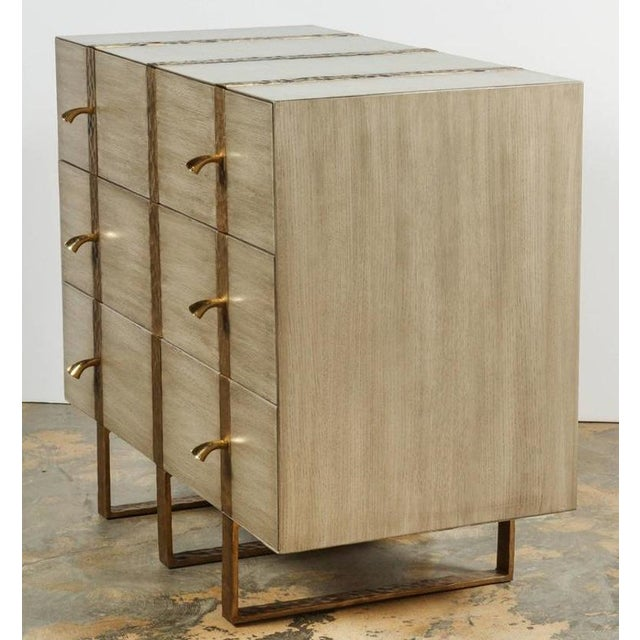 Contemporary Paul Marra Three-Drawer Banded Chest in Bleached Oak and Inset Iron Band For Sale - Image 3 of 7