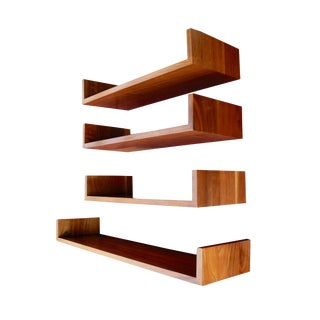 Mid-Century Modern Walnut Wall Hanging Shelves Designed by Mel Smilow For Sale