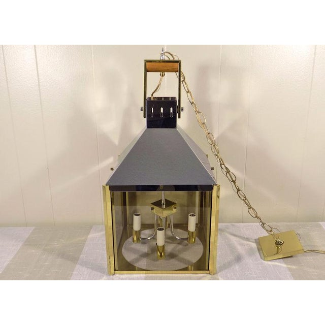 1970s Fredrick Ramond Post Modern Lantern Chrome & Brass Light Fixture For Sale - Image 13 of 13