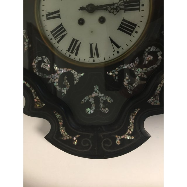 Wood Napoleon III Ebony and Mother of Pearl Inlay Wall Clock For Sale - Image 7 of 11