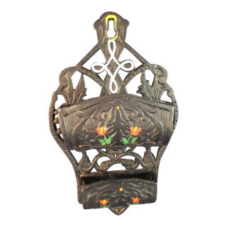 Vintage Cast Iron Double Match Safe Rustic Hand Painted Wall Mount