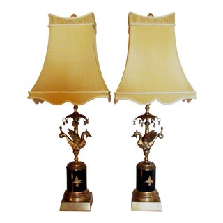 1970s Chelsea House Bronze Dragon Table Lamps - a Pair For Sale