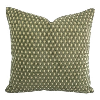 """Moss Green Raised Chenille Diamond Pattern Pillow Cover - 20"""" X 20"""" For Sale"""