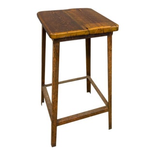 1900s Cottage Reclaimed Wood and Metal Legged Counter Stool