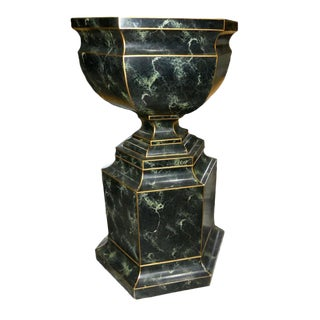 Maitland Smith Hand Paint Pedestal Urn For Sale