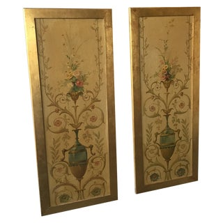 Pair of 1920s Painted Panels For Sale