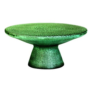 Kavis Handmade Glazed Ceramic Outdoor Coffee Table in Frost with Unique Texture Finish, Green For Sale