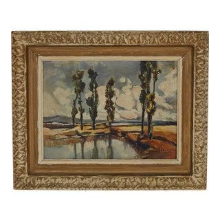 Vintage Original Landscape Oil Painting in Carved Wood Frame Signed For Sale