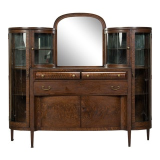American Arts and Crafts Oak and Curved Glass Cabinet