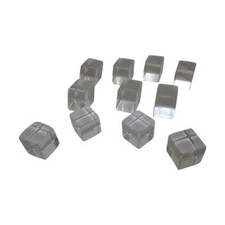 Lucite Clear Cube Drawer Pulls - Set of 11 For Sale