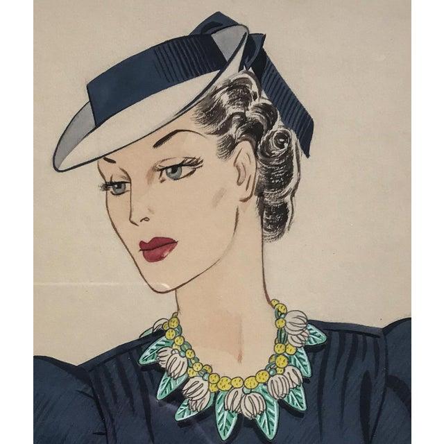 "Original fashion art by Frank Hess head designer at Miriam Haskell jewelry in goauche 12""x15"" frame- art 8""x10"" 1940s"