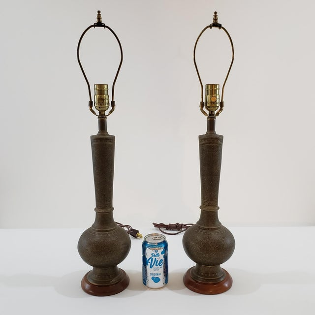 English Mid-Century Arabesque Brass Lamps - a Pair For Sale - Image 3 of 13