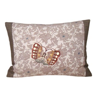 Autumn Butterfly Japanese Kimono Lumbar Pillow Cover For Sale