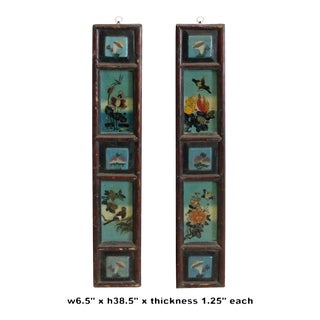 Chinese Vintage Pair Color Graphic Wood Wall Panels Art For Sale