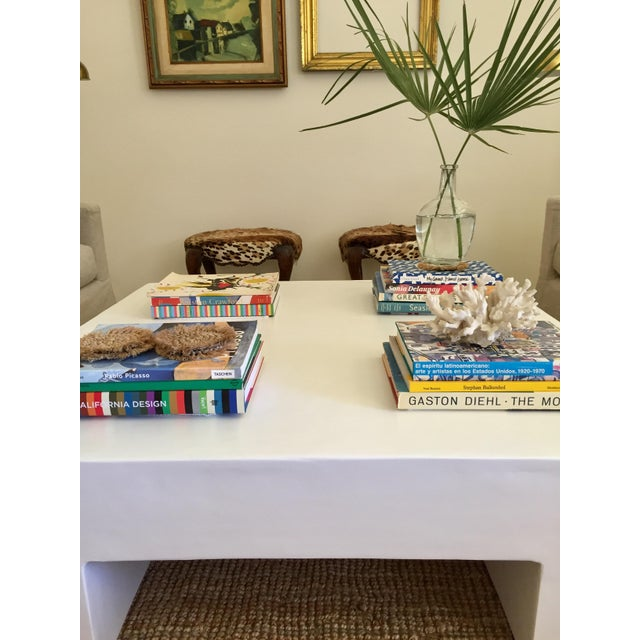Mid-Century Modern White Mid-Century Handmade Plaster Coffee Table For Sale - Image 3 of 7