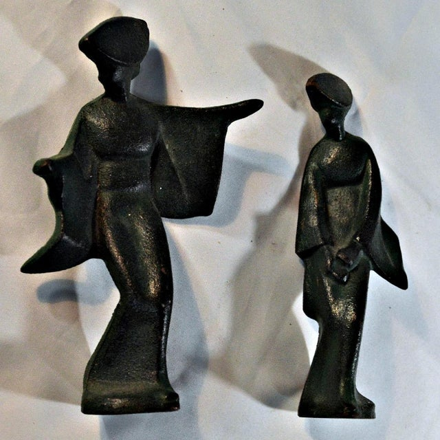 Asian Mid-Century Cast Iron Geisha Figures - A Pair For Sale - Image 3 of 11