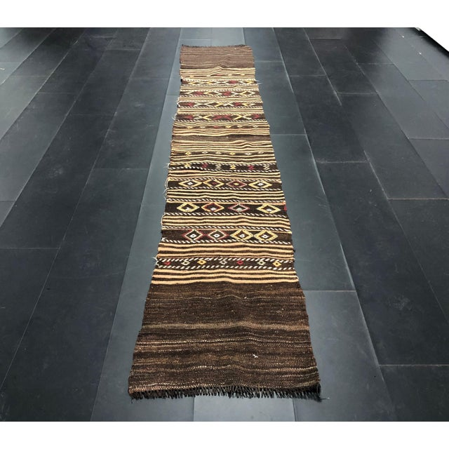 1960s Vintage Decorative Turkish Anatolian Hand-Woven Kilim Runner- 1′10″ × 10′10″ For Sale - Image 11 of 11