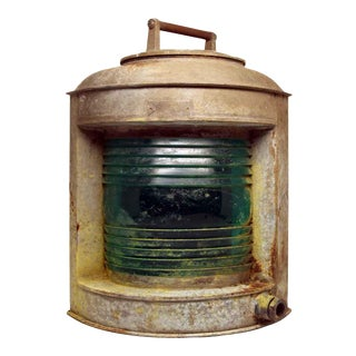 Old Perko Nautical Lantern With Teal Glass For Sale
