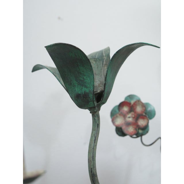 Polychrome Wall Lights with Springy Flowers For Sale - Image 4 of 9