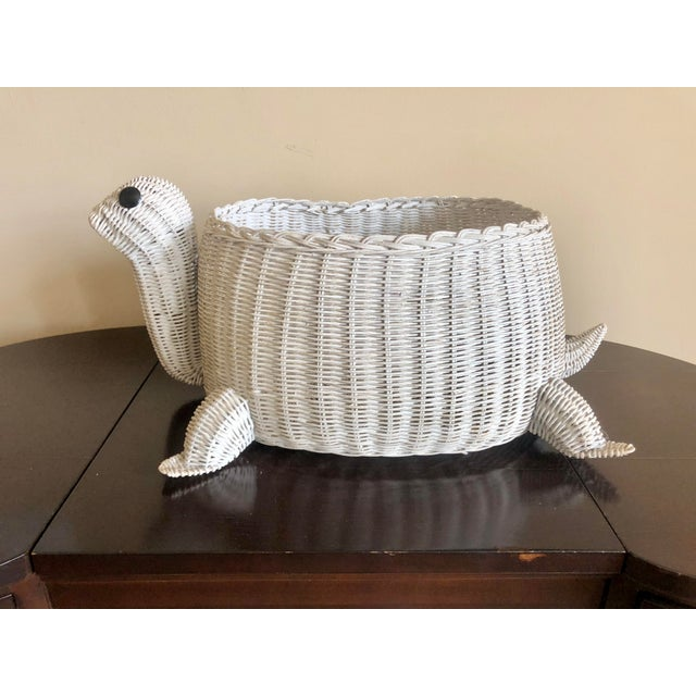 Mario Torres Vintage White Wicker Turtle Basket For Sale - Image 4 of 8