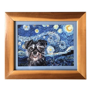 """Contemporary Terrier Dog Print by Judy Henn """"Starry Night Terrier"""" For Sale"""